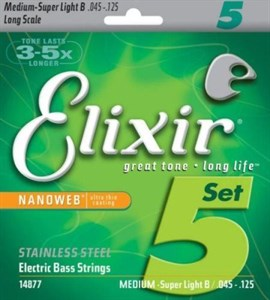 Струны для бас-гитары стальные Elixir Nanoweb 45-125 Long Scale