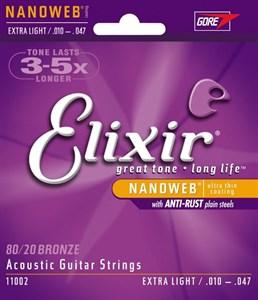 Струны Elixir 10-47 Nanoweb Extra Light для акустической гитары