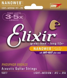 ELIXIR 16077 12-56 Nanoweb Phosphor Bronze light-medium