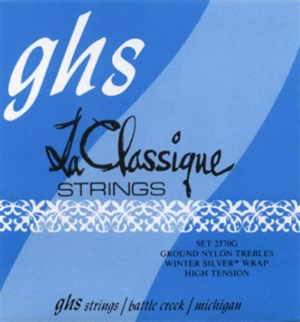 GHS (2370G) La Classique Nylon Trebles, Winter Silver Bass (hard)