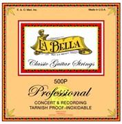 Струны LA BELLA 500P Professional (плоская обмотка, clear nylon silver)